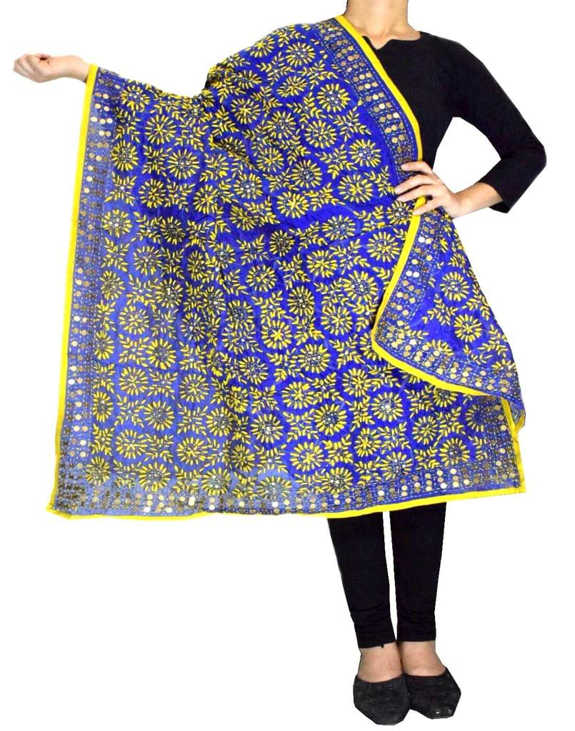 Phulkari Dupatta on Chanderi Fabric -Blue&Yellow