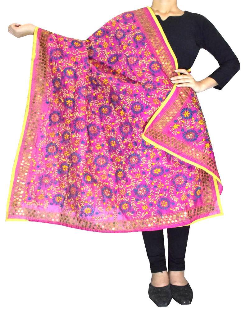 Phulkari Dupatta on Chanderi Fabric -Pink