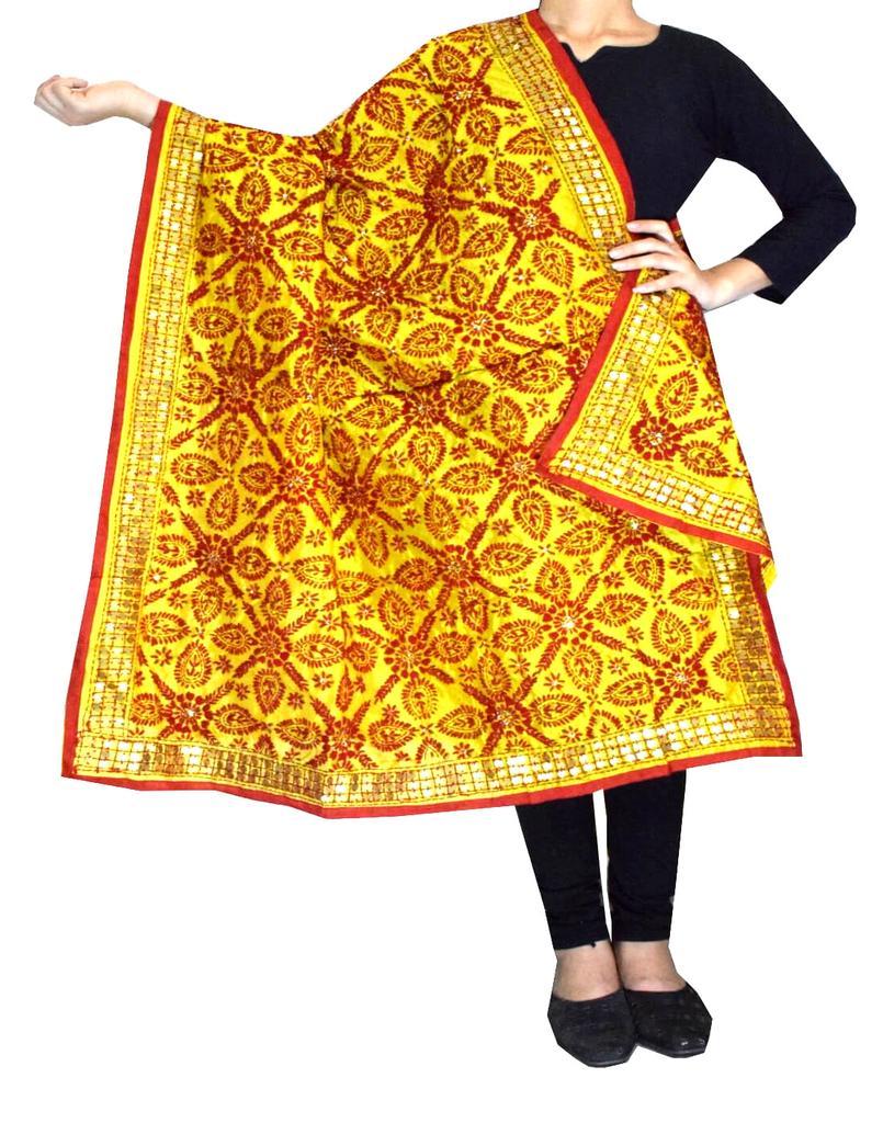 Phulkari Dupatta on Chanderi Fabric -Yellow&Rrd