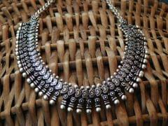 German Silver Kolhapuri Necklace- Pattern 2