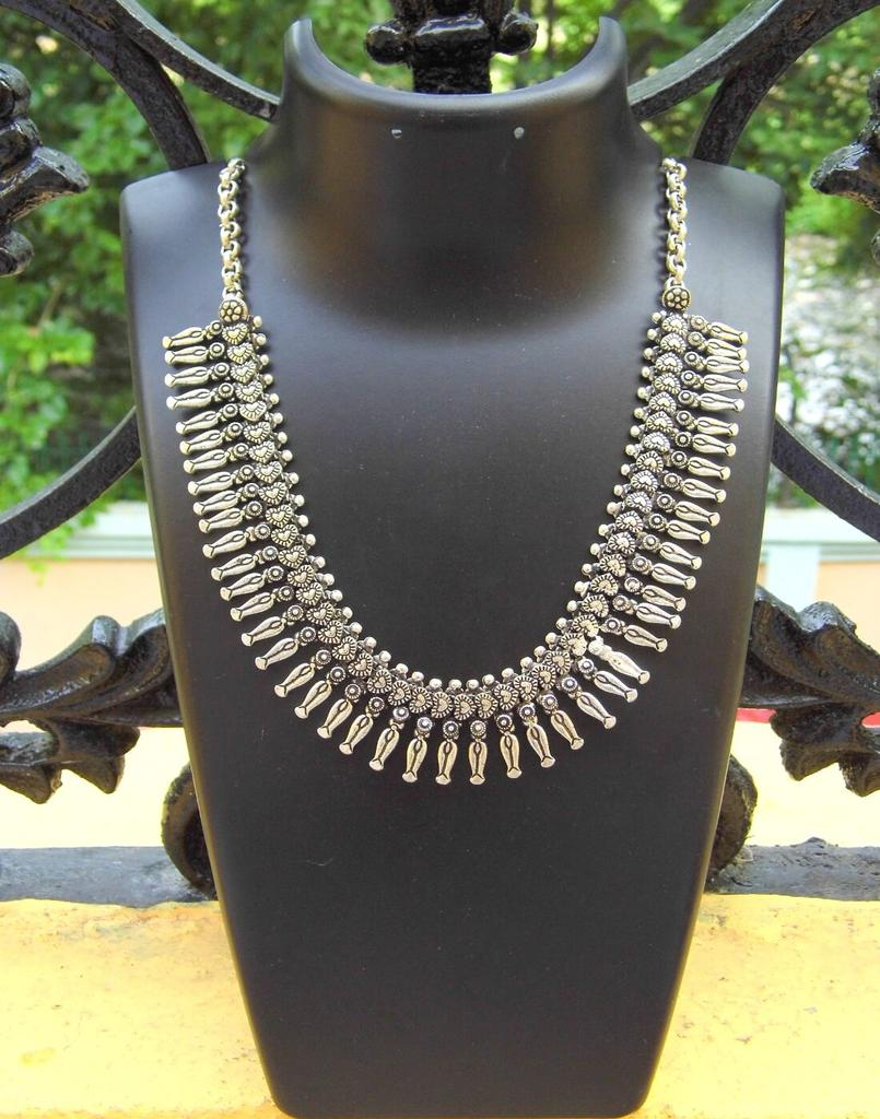 German Silver Kolhapuri Necklace- Pattern 3