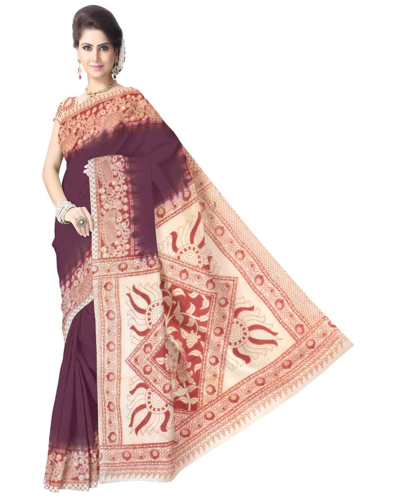 Kalamkari Saree in Cotton-Dark Maroon&Red