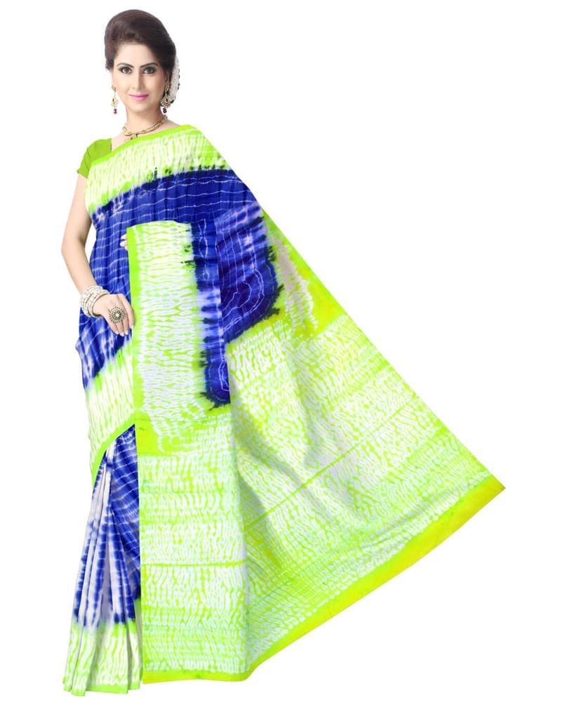 Cotton Shibori Saree-Green&Blue