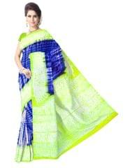 Cotton Shibori Saree-Green&Blue