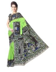 Kalamkari Saree in Cotton-Green