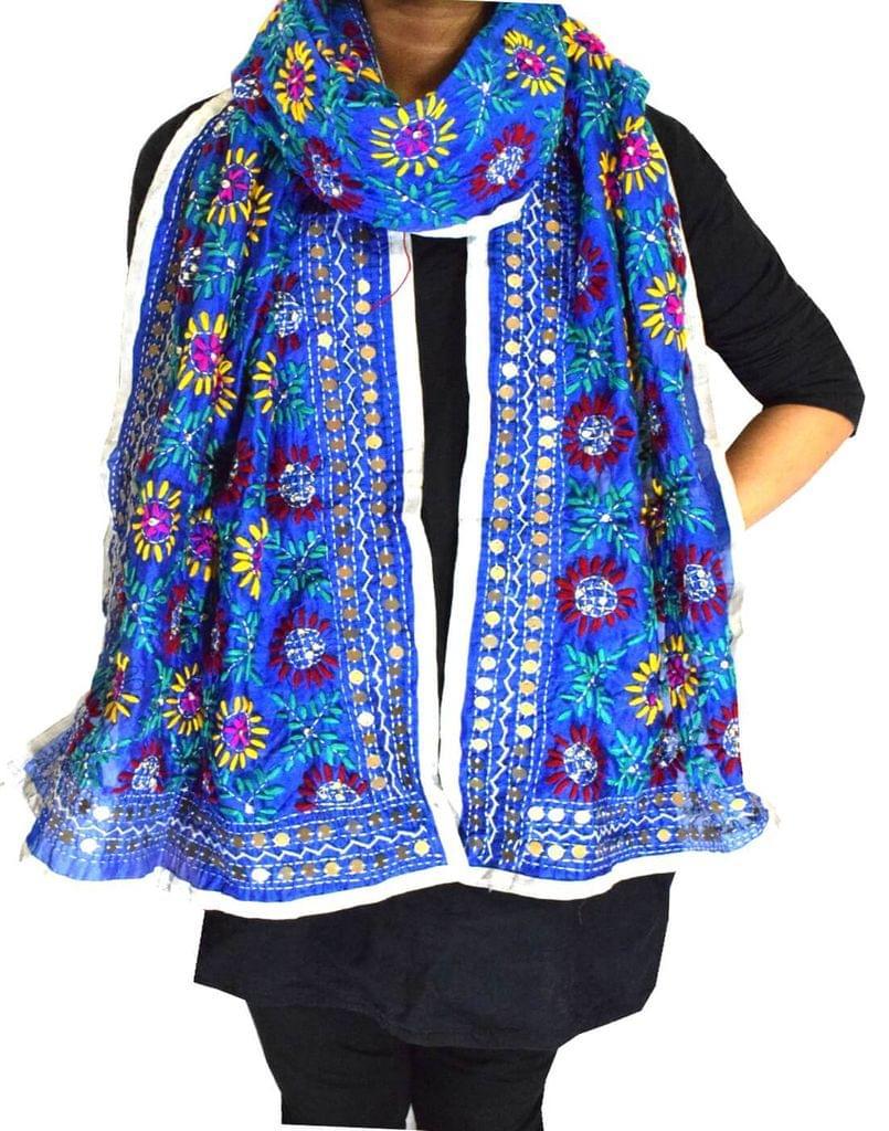 Chanderi Cotton Silk Phulkari Stole -Blue