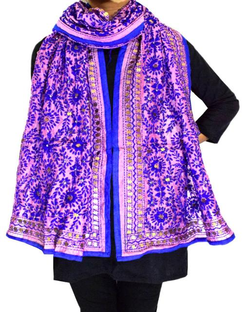 Chanderi Cotton Silk Phulkari Stole -Mauve&Purple