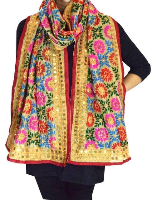 Chanderi Cotton Silk Phulkari Stole -Beige
