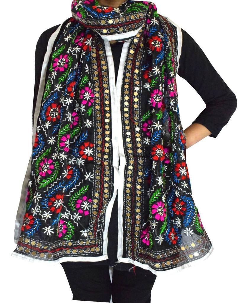 Chanderi Cotton Silk Phulkari Stole -Black