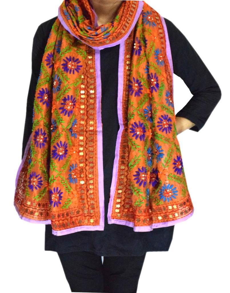 Chanderi Cotton Silk Phulkari Stole -Orange