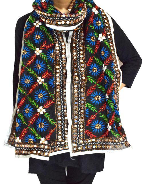 Chanderi Cotton Silk Phulkari Stole -Black 1