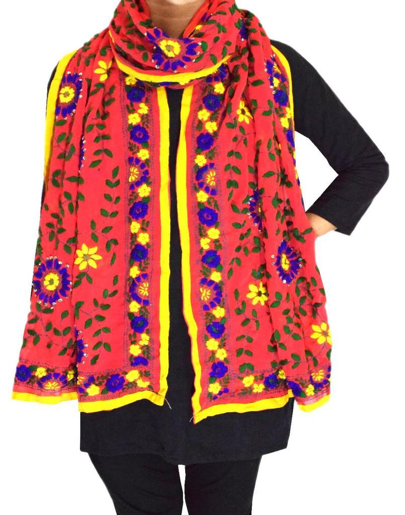 Georgette Phulkari Stole -Bean Red