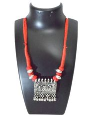 Threaded German Silver Necklace Square Taweez Pendant- Red