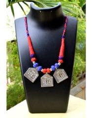 Threaded German Silver Necklace Square Taweez Pendant- Blue&Red