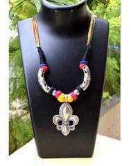 Threaded German Silver Hansuli Necklace Pendant-Multicolor