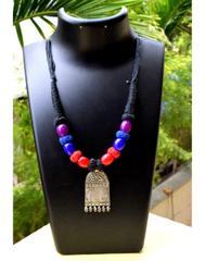 Threaded German Silver Necklace Pendant-Black