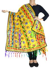 Heavy Chanderi Hand Embroidered Dupatta- Yellow