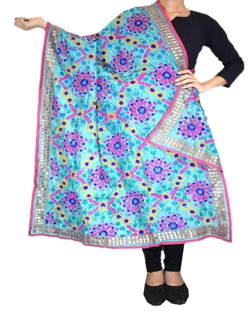 Phulkari Dupatta on Chanderi Fabric -Turquoise