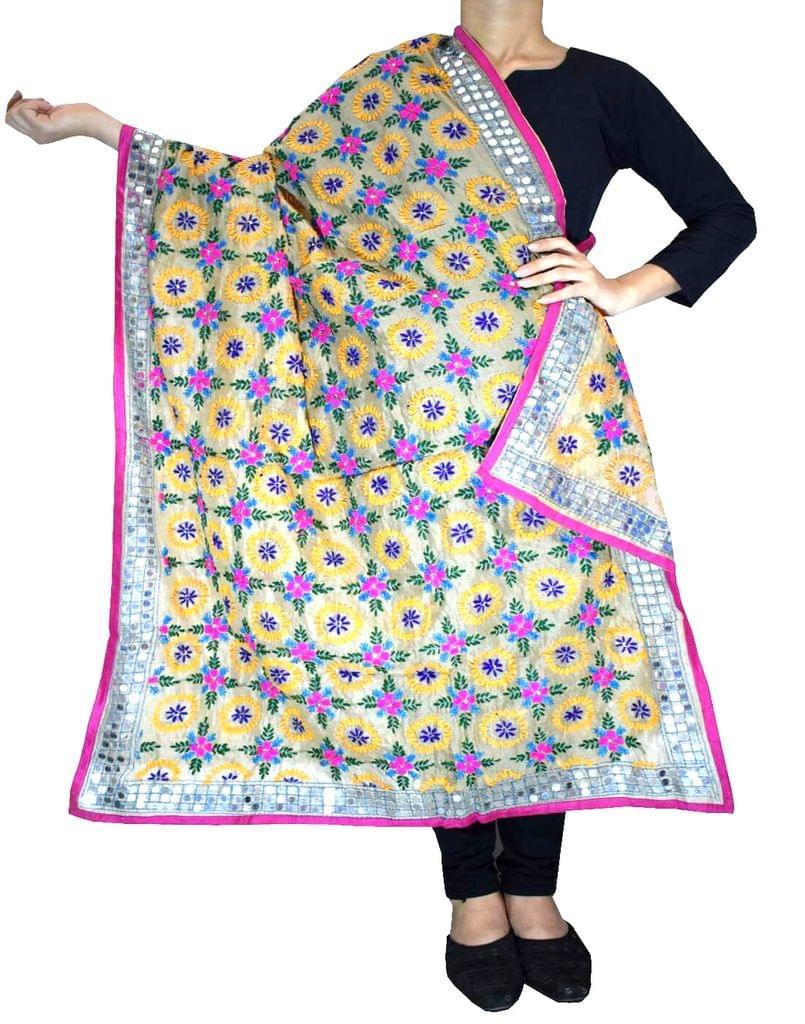 Phulkari Dupatta on Chanderi Fabric -Beige 1