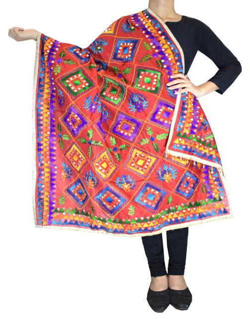 Heavy Chanderi Hand Embroidered Dupatta- Red