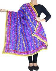 Heavy Chanderi Hand Embroidered Dupatta-Blue