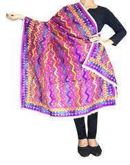 Heavy Chanderi Hand Embroidered Dupatta- Dark Pink