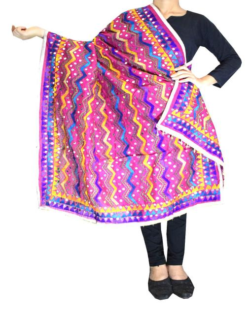 Heavy Chanderi Hand Embroidered Dupatta- Dark Pink