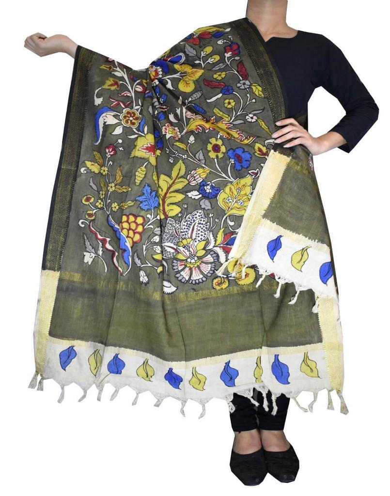 Pen Kalamkari Dupatta in Cotton- Pattern 7