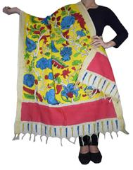 Pen Kalamkari Dupatta in Cotton- Pattern 8