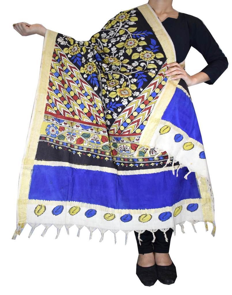 Pen Kalamkari Dupatta in Cotton- Pattern 4