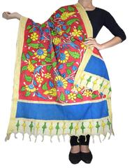 Pen Kalamkari Dupatta in Cotton- Pattern 10
