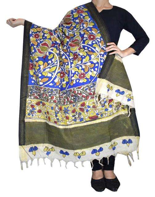 Pen Kalamkari Dupatta in Cotton- Pattern 6