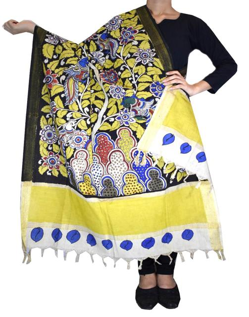 Pen Kalamkari Dupatta in Cotton- Pattern 3