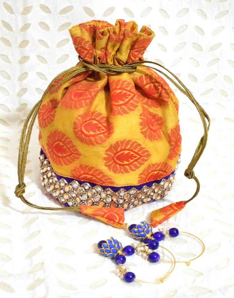 Stonework Brocade Potli & Pachhi Earrings Gift Set- 2