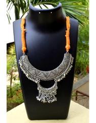Threaded German Silver Necklace-Moon Shape Orange Threaded