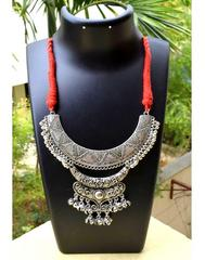 Threaded German Silver Necklace-Moon Shape Red Threaded