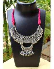 Threaded German Silver Necklace-Moon Shape Pink Threaded