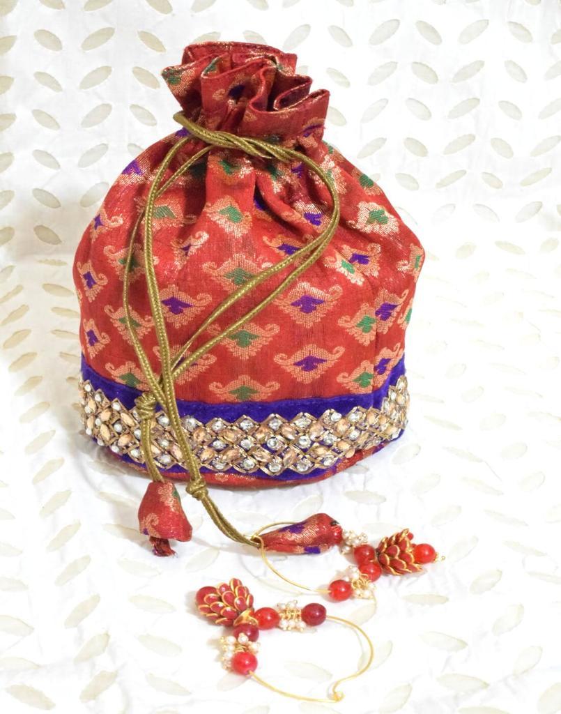 Stonework Brocade Potli & Pachhi Earrings Gift Set- 3