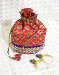 Stonework Brocade Potli & Pachhi Earrings Gift Set- 4