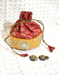 Stonework Brocade Potli & German silver Jhumkas Gift Set- 1