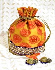 Stonework Brocade Potli & German silver Jhumkas Gift Set- 2