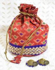 Stonework Brocade Potli & German silver Jhumkas Gift Set- 4