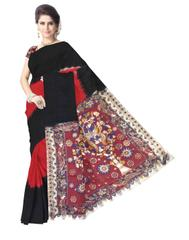 Kalamkari Saree in Cotton-Black&Red