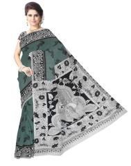 Kalamkari Saree in Cotton-Dark Sea Green