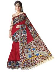 Kalamkari Saree in Cotton-Red
