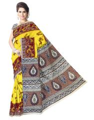 Kalamkari Saree in Cotton-Yellow