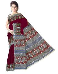 Kalamkari Saree in Cotton-Dark Maroon 1