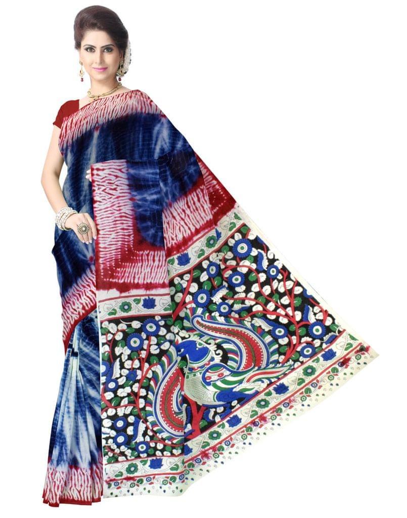 Cotton Shibori Kalamkari Saree-Indigo Blue&Red