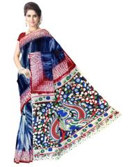 Cotton Shibori Kalamkari Saree-Indigo Blue&Red