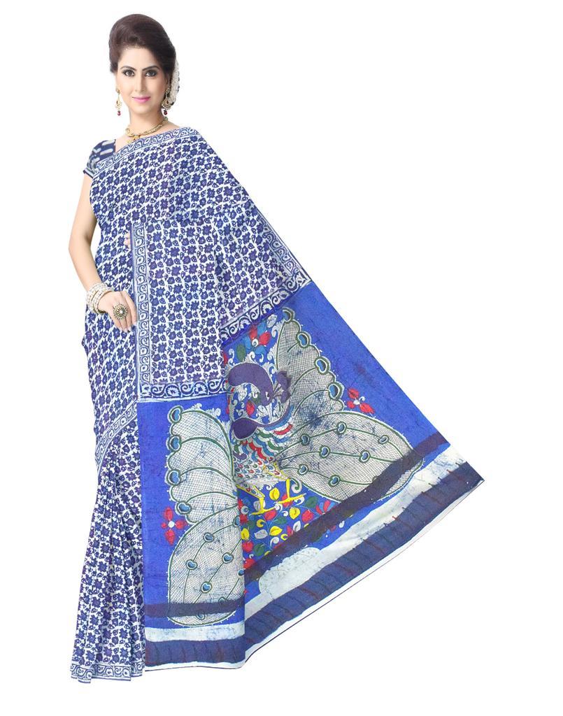 Cotton Bagru & Kalamkari Saree- Indigo Blue 2